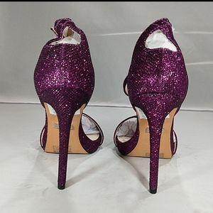 Topshop, size 7.5 strappy purple glitter stilettos